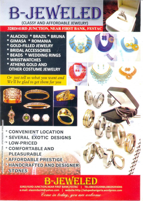 B-JEWELED!...CLASSY AND AFFORDABLE JEWELRY SHOP OPENS ITS DOORS IN FESTAC TOWN