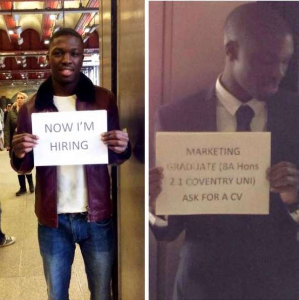 WOW ! ALFRED THE JOBLESS NIGERIAN GRADUATE WHO ONCE PUBLICIZED HIS CV AT THE UK SUBWAY IS NOW HIRING STAFFS (PICTURES)