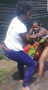PICS...HUSBAND SNATCHER THOROUGHLY BEATEN AND STRIPPED...HUSBAND FLEES!