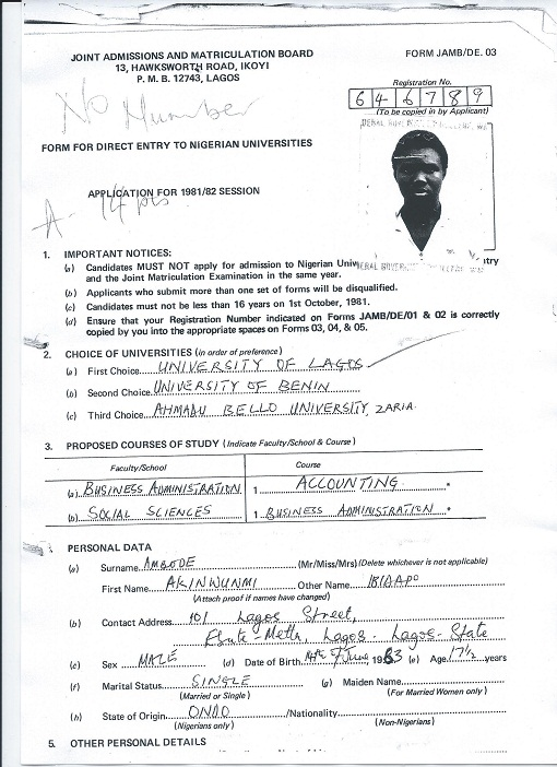 JUST FOR THE RECORDS…JAMB FORM EXPOSE AMBODE AS ONDO STATE INDIGENE!