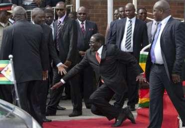 Mugabe falling down