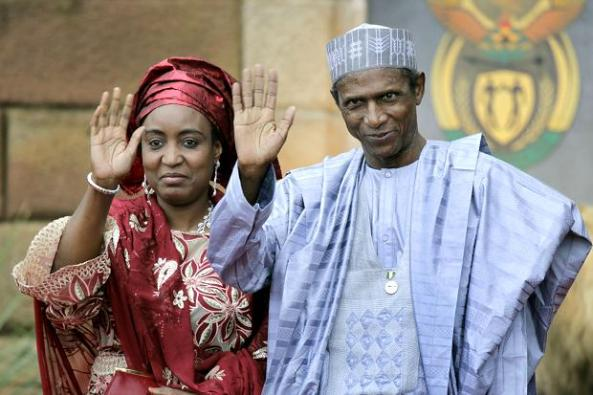 PHOTO...MR AND MRS YARADUA SAY BYE TO ANOTHER COUPLE ABOUT TO VACATE ASO ROCK