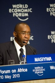 South Africa Cape Town. The press conference for the launch of the Africa Progress Panel Report at the WEF, at the Cape Town International Convention Centre. Strive Masiyiwa, Chairman of Econet Wireless. 10 May 2013 Photo by Rodger Bosch for APP dodge@netactive.co.za +27 82 894 1417 www.rodgerbosch.co.za