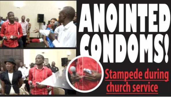 SCRAMBLE IN CHURCH FOR ANOINTED CONDOMS!...WHEN SHALL AFRICA FREE ITSELF FROM SOME OF THESE RELIGIOUS SLAVERY AND BONDAGES?